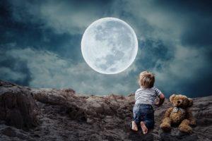 Gute Nacht Sprüche - Kind und Mond