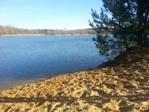 Kurze Sprüche über das Leben - Strand mit Schatten am See